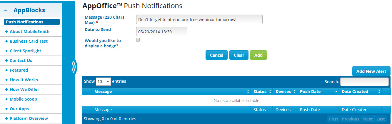 Send Push Notifications with MobileSmith