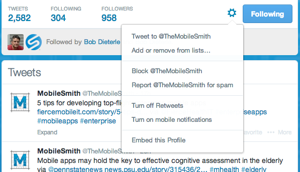 Set up a Twitter Feed in MobileSmith