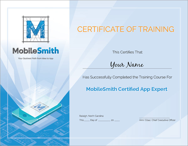 mobilesmith certificate