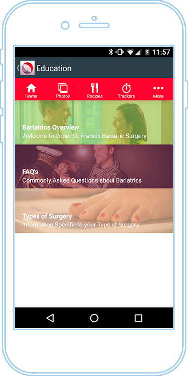 RSF bariatrics app screen 2