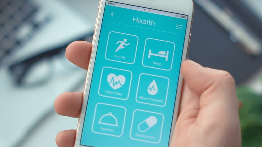 person using health app
