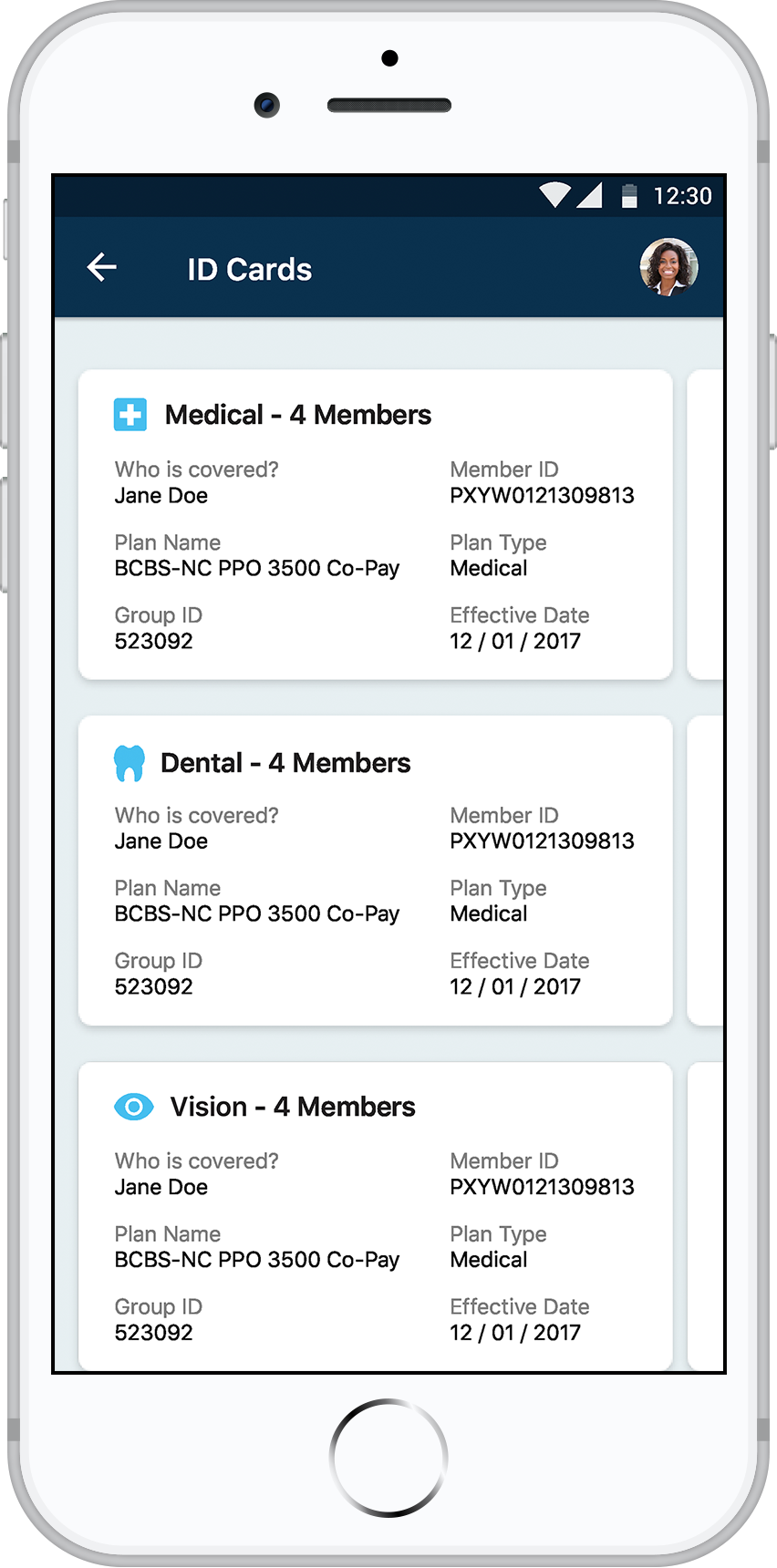 Payer app ID cards