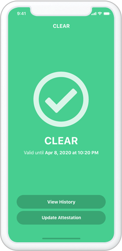 COVIDClear™ Mobile App Clear Screen